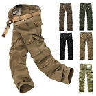 Solid Fatigue Tactical Combat Military Army Cargo Pants Trousers Casual Pocket W