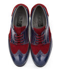 Boys Navy Patent & Burgundy Suede Kids Formal Brogue Shoes