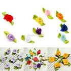 100 Satin Roses Rose Buds Rosebuds Wedding Flowers Applique Decoration Craft DIY