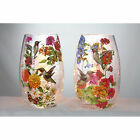 """SCH7204 5.25"""" Hummingbird Butterfly Spring Flowers Lighted Glass Table Vase"""