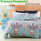3 Pce Tanaya Turquoise Damask Quilt Cover Set by Phase 2 - DOUBLE QUEEN KING