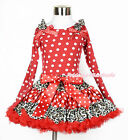 XMAS Girl Ruffle Bow Red White Dots Tank Top Leopard Minnie Pettiskirt Set 1-8Y