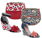 Ruby Shoo Sky Wedge Sandals & Matching Miami Bag Navy Coral Floral / Red Tulip