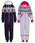 Womens Ladies  Hooded ZIP UP Aztec PRINT One Piece  ALL IN ONE Jumpsuit