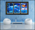 Christian Lassen Lithograph Large Triptych Seascape Signed Artwork Dolphin Fish