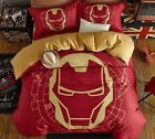 *** Iron Man Helmet Queen Bed Quilt Cover Set - Flat or Fitted Sheet ***