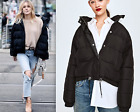 Zara Black Relaxed Fit Quilted Coat Bomber Jacket Puffer Anorak  M Xl New