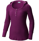 $60 Columbia Women's WEEKDAY WAFFLE™ Henley Long Sleeve Hoodie Shirt AL1706-575