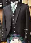 New Scottish Braemar Jacket & Vest Made In Glasgow Black Wool Bankrupt Stock