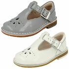 Girls Clarks Yarn Weave Fst Grey Patent Leather First Walking Shoes