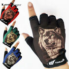 Sports Cycling Gloves Fingerless Wolf Pattern Half finger Gym Fitness Work Out