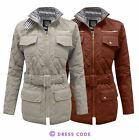 NEW LADIES WOMENS BELTED QUILTED PADDED GOLD ZIP JACKET COAT TOP SIZES 8-14