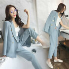2017 Women Spring Lady Two Pieces Suits Blazers High Waist Pants Size S-L New