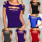 Casual Womens Slim Cut Out Tops T-shirt Short Sleeve Hollow Evening Club Blouses