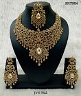 New Indian Bollywood Style Gold Necklace Set Diamante Stones Party Wear