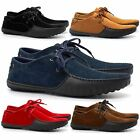 Mens Casual Suede Leather Lace Up Trainers Shoes Black Driving Smart Formal Size