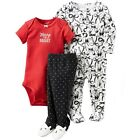 New CARTER'S Girls 3-pc Set Size 3 6 months Bodysuits Pants Cotton Outfit Baby