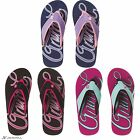 Animal Swish Logo womens comfortable surf flip flops with padded strap
