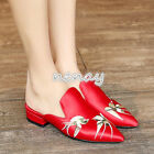 Womens Embroidery Slippers Pointy Toe Sandals Slingback Flats Casual Shoes Size
