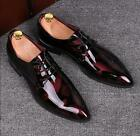 Men Pointed Toe Patent Leather Business Dress Wedding Casual Floral Shoes Formal
