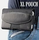 for XL LARGE Phones - BLACK Suede Pouch Holder Holster Belt Clip Loop Case Cover