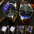 Fashion Men's Military Sport Casual Leather Stainless Steel Quartz Wrist Watch