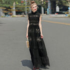 2017 Spring Ruffled Lace Paneled Gown, Maxi Dress, Black #1612156 US 2,4,6,8