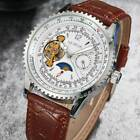 Luxury Men Casual Leather Date Moon Automatic Mechanical Sport Army Wrist Watch