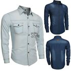 Vintage Men's Casual Slim Fit Stylish Wash Denim Long Sleeves Jeans Shirts @