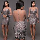 Fashion Women Long Sleeve Bodycon Dress Cocktail Party Evening Short Mini Dress