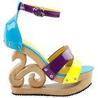 Sexy Yellow Blue Purple Strappy Open Toe Wooden Wedges Platform Clogs Sandals