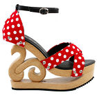 Cute Red/Black White Polka Dots Wooden Wedge Platform Clogs Sandals Party Pumps