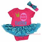 Bunny Happy Egg Easter Pink Bodysuit Bling Blue Fish Scale Girl Baby Dress 0-18M