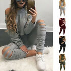 Womens Solid Long Sleeve Tops Cut Out Pants Suits Sets Sports Two-piece Outfits