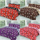 Grace 4 Pcs Printed Floral Duvet Cover + Valance Sheet Complete Bedding Set