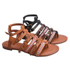 BETANI FH99 Women's Strappy Embroidered Gladiator Thong Style Flat Sandals