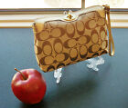 Coach Signature C Canvas & Leather Turn Lock Wristlet Wallet Cosmetic Bag