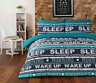 STYLISH NEW DESIGN RETRO TEXT TEAL duvet Cover with Pillowcases all sizes