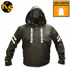 LED Mens Jacket Light Up Rave Running Outdoors Safety Cycling Fiber Optic Black