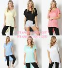 BOXY DOLMAN LONG TOP T SHIRT HI-LOW RAYON SIDE SLIT COMFY S,M,L