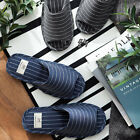 Cotton Stripe Comfort Anti-Slip House Indoor Slippers for Men (Navy, Black)