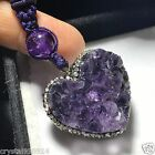 Collection Amethyst Natural QUARTZ Crystal GEODE CLUSTER Heart Pendant H0201