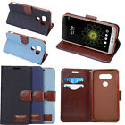 Magnetic DENIM Diary Flip Leather Wallet Stand Card Slot Case Cover For LG G6