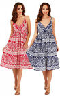 Pistachio Paisley Print Red Blue White Summer Sun Dress UK 8-22