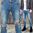 NewStylish mens bottoms casual pants Light wash ripped knee slim jeans