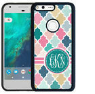 MONOGRAMMED RUBBER CASE FOR GOOGLE PIXEL & PIXEL XL PINK TEAL QUATREFOIL