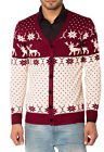 Mens Boys Slim Fit Reindeer Snowflakes Knitted Xmas Christmas Button Up Cardigan
