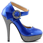 New Ladies Flower Ankle Strap Stripe Platform Party Pumps UK Size 2.5-8