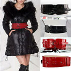 Fashion Womens Adjustable Elastic Faux Leather Corset Buckle Wide Waistband Belt