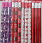 St. Valentine's Day Pencils ~ Love Red Pink Purple ~ 1.95 12pk Shiny Holographic